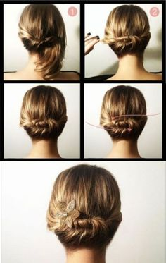 Divide hair in two sections. Twist one side, secure with bobby pins. Twist other… Hair Day, My Hair, Cute Hairstyles, Wedding Hairstyles, Mi Long, About Hair, Hair Looks, Short Hair Styles, Beauty Hacks