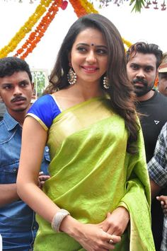 Rakul Preet Singh Photos At Shop Opening In Green Saree