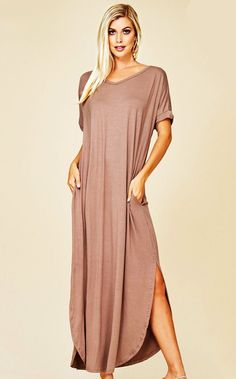 5f96b8d92 Maddie T-shirt Maxi Dress Taupe Maxi Shirt Dress, Popular Dresses, Shopping  Day