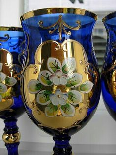 Carafe, Bohemia Glass, Cobalt Glass, Bohemian Art, Himmelblau, Blue Gold, Cobalt Blue, Murano Glass, Czech Glass