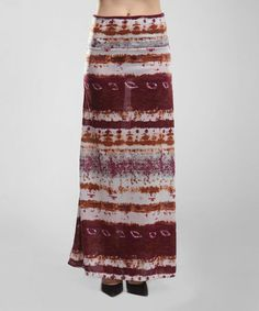 Another great find on #zulily! Ivory & Red Ombré Maxi Skirt #zulilyfinds
