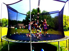 Fun Summer Activity For Kids. Trampoline, and water balloons Outdoor Fun For Kids, Summer Fun For Kids, Outdoor Play, Outdoor Toys, Outdoor Stuff, Summer Activities For Kids, Fun Activities, Fun Games, Backyard Trampoline