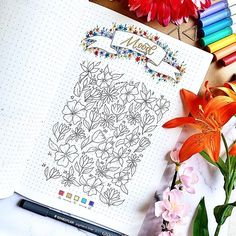 #bulletjournal #bujo #bujoideas #moodtracker #lettering #handlettering Bullet Journal Tracker, Bullet Journal Inspo, Mood Tracker, Flower Doodles, Hope You, Bujo, Hand Lettering, Dots, Pattern