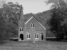 """Bear Creek Church, Columbia, TN  The windows are painted blood red. THEY say the place is guarded by """"pure evil."""" Ghost hunters claim to have captured spectral photos.  Source:knoxnews.com"""