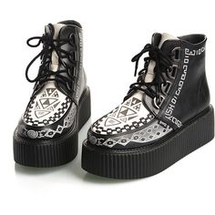 2014 Women's White Black Rock Style Sexy High Top Lace Up Flat... ($35) ❤ liked on Polyvore featuring shoes, punk shoes, hi tops, creeper platform shoes, flat platform shoes and goth shoes