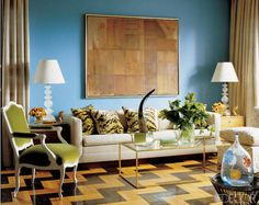 Stained Zig-Zag Floors- Stained Zig-Zag Floors In the living room of interior designer Tony Fornabaio and Joe Lupo's Manhattan apartment, the walls are painted in Benjamin Moore's Teal, and Fornabaio designed the stenciled-wood floor.