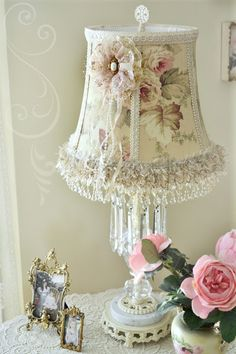 ♥~ Shabby Chic Inspiration #shabbychic...another divine little lamp shade...