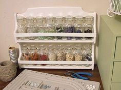 craft room ideas | Craft Room Ideas / Thrift store spice rack turned into bead storage.
