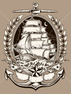 Tattoo Style Pirate Ship In Crest | Stock Illustration | iStock
