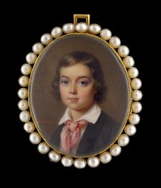 Portrait miniature of a young boy, wearing a black coat, white shirt and pink necktie