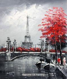 Célèbre couteau épais peinture à l'huile réplique arts muraux pour déco - tour Eiffel à paris, À l'huile de rue de Paris toile sceery arts pour hôtel