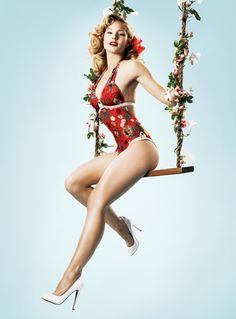 Kristen Bell as a '50s pin up - picture leads to a website with more celebrities as pin up models.
