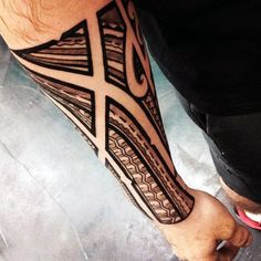 Mens Polynesian Negative Space Traditional Tribal Forearm Tattoo Sleeve
