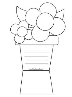 me tuttodisegni files 2012 04 biglietto-vaso-fiori. Diy And Crafts, Crafts For Kids, Paper Crafts, Adult Coloring Book Pages, Coloring Pages, Mothers Day Coloring Cards, Mather Day, Mother's Day Activities, Mom Day