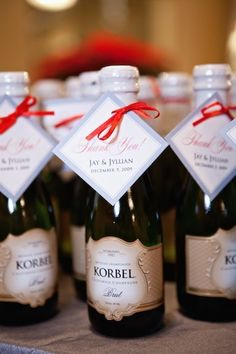 Korbel Mini Champagne Favors.  Will also have a bitter dark chocolate truffle to pair.