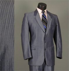 Vintage Mens Suit 1970s Groovy Iridescent Steel by jauntyrooster, $175.00