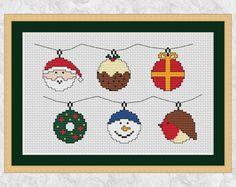 Christmas cross stitch pattern Christmas fun bauble motifs