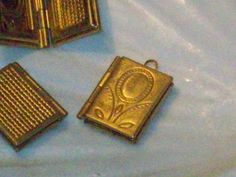 One Brass  Book Lockets Etched Flower front 3/4 by theSheepandI