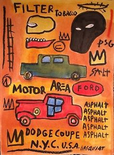 JEAN-MICHEL BASQUIAT ORIGINAL HAND DRAWN & SIGNED * MOTOR AREA NYC * WATERCOLOR Jean Basquiat, Jean Michel Basquiat Art, Basquiat Paintings, Warhol, Drawing Art, Graphic Prints, Abstract Expressionism, Art Inspo, Hand Drawn