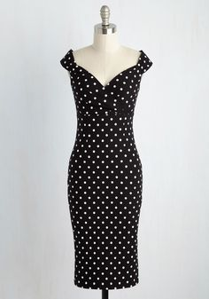 Printed Dresses - Lady Love Song Dress in Black Dots