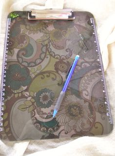 Clipboard Smoke Grey Lucite Green Olive Fabric Floral by Pinoodles, $20.00