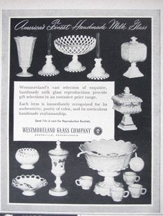 1954 Westmoreland Glass Co Milk Glass Magazine Ad Dish Bowl Cup Home Decor 2865 | eBay