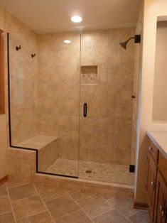 Frameless Shower Door w/Notched Panel: 3/8 inch Clear Glass/ Oil Rubbed Bronze Hardware installed in Milwaukee | Milwaukee Replacement Windows - Doors - Custom Mirrors - Custom Cut Glass Showcase | BGS Glass Waukesha Wisconsin