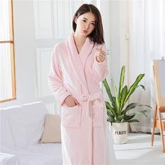 b4b195d607 Thickening Robe Flannel 2018 Winter Sexy Robes Women Bathrobe Dressing Gowns  For Women Solid Color Bath