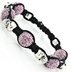 Skull Bead Pink Disco Ball Bracelet with Crystals