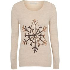George Sequin Snowflake Christmas Jumper ($21) ❤ liked on Polyvore featuring tops, sweaters, snowflake sweater, sequin sweater, sequin jumper, jumpers sweaters y pink top