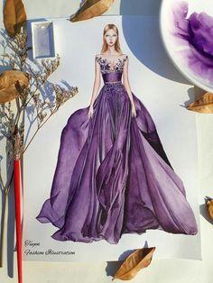 Art Sketches, Disney Characters, Fictional Characters, Aurora Sleeping Beauty, Disney Princess, Formal Dresses, Purple, Creative, Illustration