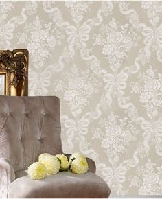 Glimmerous Taupe is a luxurious feminine design showcasing a large scale floral damask print.