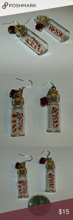 So cute!  Brand new Candy Cane Christmas earrings So adorable for every day or holiday parties! Handcrafted and brand new. Candy canes in a little jar with a dangling red crystal. Sterling silver plated earwires. Fun Secret Santa gift! starbaby gems Jewelry Earrings