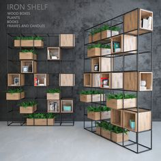 Iron shelf – Home Decoration Office Interior Design, Office Interiors, Iron Furniture, Furniture Design, Regal Design, Iron Shelf, Shelf Design, Bookshelves, Bookshelf Ideas