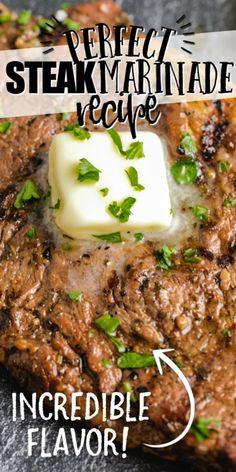Steak Marinade Recipes, Easy Steak Recipes, Grilled Steak Recipes, Marinated Steak, Grilling Recipes, Meat Recipes, Cooking Recipes, Grilled Steak Marinades, Steak Seasoning Recipe