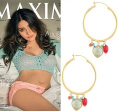 GET THIS LOOK: Anushka Sharma in Golden candy drop hoops by Manish Arora for Amrapali Jewels on the cover on MAXIM Magazine, India.  Shop at: https://www.perniaspopupshop.com/designers-1/manish-arora-for-amrapali/manish-arora-for-amrapali-3