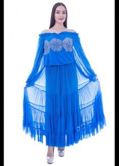 Rochie tul albastru cu broderie Nasa, Cinderella, Victorian, Disney Princess, Disney Characters, Dresses, Fashion, Embroidery, Vestidos
