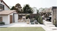 Yardzen is the online landscape design platform that assigns a talented landscape designer to create a just-for-you design. This beautiful backyard in Dallas's Highland Park transports you to the southwest with a mix of cactus, stone, woods, pea gravel, and warm whites. Dallas home, Dallas Yard, white house, white exterior modern design, mid-century modern yard, low-maintenance yard, cactus garden, succulent garden, firepit, modern pool, outdoor dining, pergola, modern home, CB2.