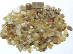 Lot of Mixed Olive Jade Stone Chips and Beads by BeadsFromHaven, $2.85