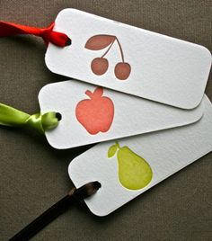 Gift tag set by Green Grass Press. Printed on cotton Crane Lettra paper with coordinated ribbon. Available for purchase. Set of 3 for $2.50