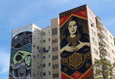 Street Art Malaga D*Face and Obey Murals