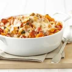 Seashell Hot Dog Bake - Mix up a 4th of July  go-to food -- hot dogs -- with this tasty pasta bake that combines shell macaroni, pasta sauce, veggies, and two different kinds of cheese. Seashell Hot Dog Bake  Makes: 6 servings Prep: 25 mins Bake: 35 mins 350°F