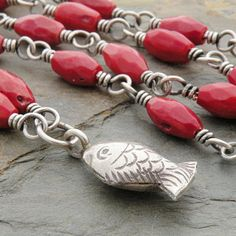 Red Necklace, Coral, Fish Charm, Hill Tribe Silver, Sterling Silver, Wire Wrapped