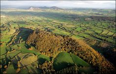 Gaer Fawr hillfort, covered in trees in Guilsfield near Welshpool . Dating at around 800 BC. One of several hillforts overlooking the upper Severn valley.