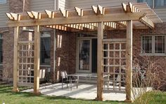 Extend pergola area to create a comfortable outdoor room with seating and firepit (needs cut out above or proper clearance)