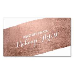 Chic modern makeup artist watercolor blue floral business card colourmoves