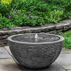 Large Round Textured Fountain- Stone Grey