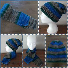 Gehaakte muts en sjaal, gemaakt met Phildar Impact 6 garen (nrs 44, 56 en 61). De patronen zijn van mijzelf. Crocheted hat and scarf, made with Phildar Impact 6 yarn (nos. 44, 56 and 61). The patterns are my own.
