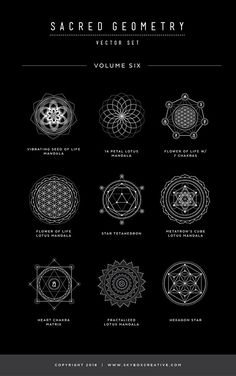 Sacred Geometry Vector Set Vol. 6 comes with 9 NEW completely unique handcrafted design elements! With new dotted line, circle patterns and sanskrit chakra elements, these symbols are unlike any other product out there. Always finding. Sacred Geometry Symbols, Sacred Geometry Tattoo, Magic Symbols, Ancient Symbols, Alchemy Symbols, Spiritual Symbols, Sanskrit Tattoo, Sanskrit Symbols, Chakra Tattoo