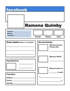 Worksheet Ramona Quimby Age 8 Worksheets ramona quimby other and colors on pinterest this is a facebook page to be used with any novel in the book